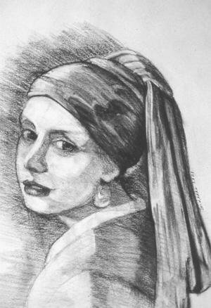 """Vermeer's Pearl, charcoal, 14"""" x 10.5"""""""