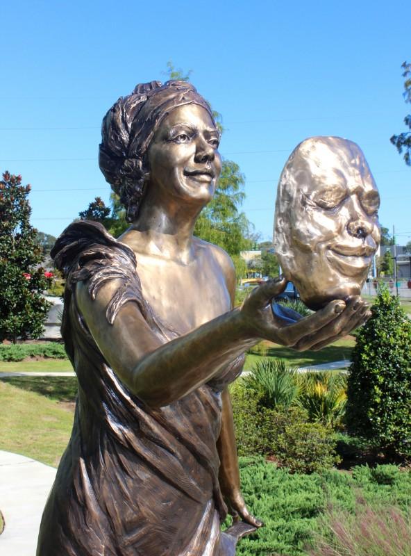 Thaila, Greek Muses, bronze,  6' H