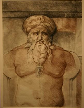 """Roman Panel,  conté, 30"""" x 24"""""""