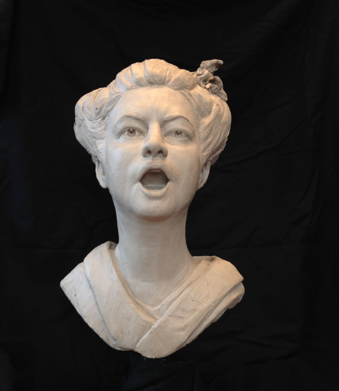 "Singing Geisha, clay for bronze, 18"" H"
