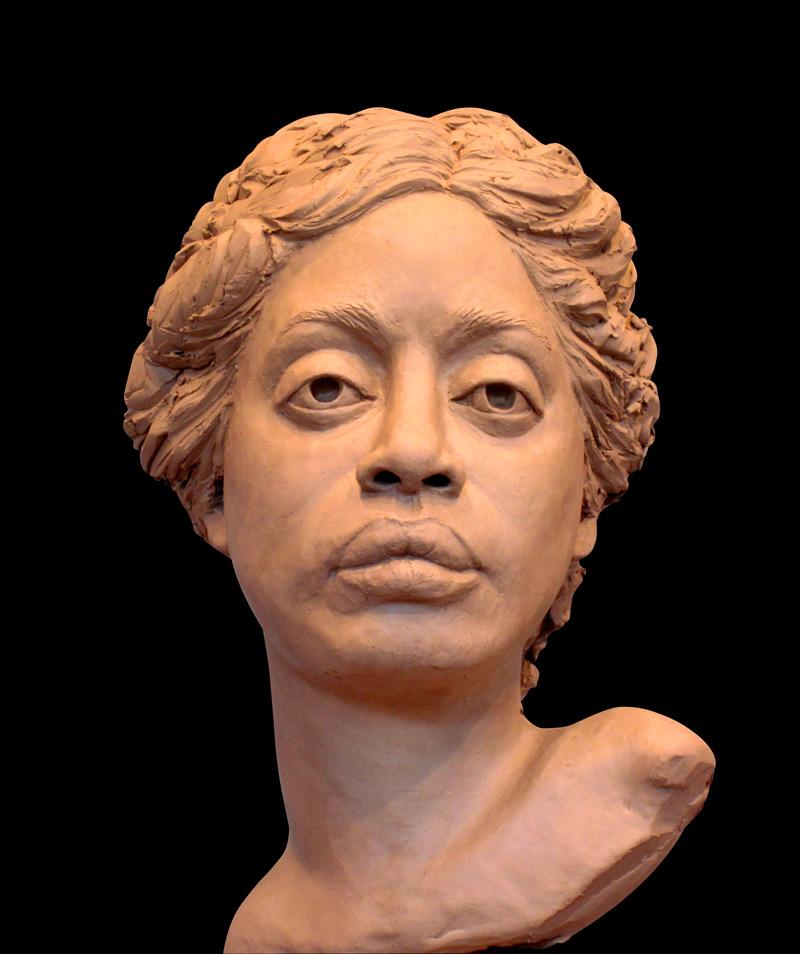 "Tasha, lifesize clay for bronze, 12"" H"